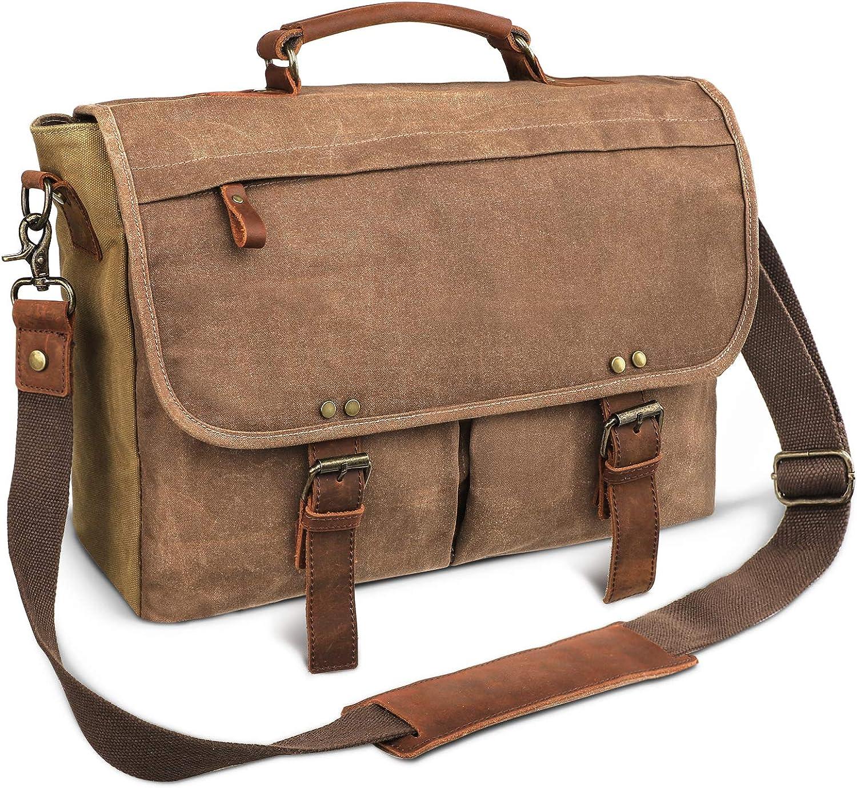 emissary Laptop Messenger Bag (15.6'' Computer Bag) Canvas and Leather Shoulder Briefcase
