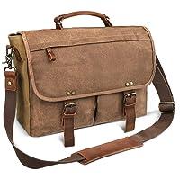 Laptop Messenger Bag (15.6'' Computer Bag) Canvas and Leather Shoulder Briefcase