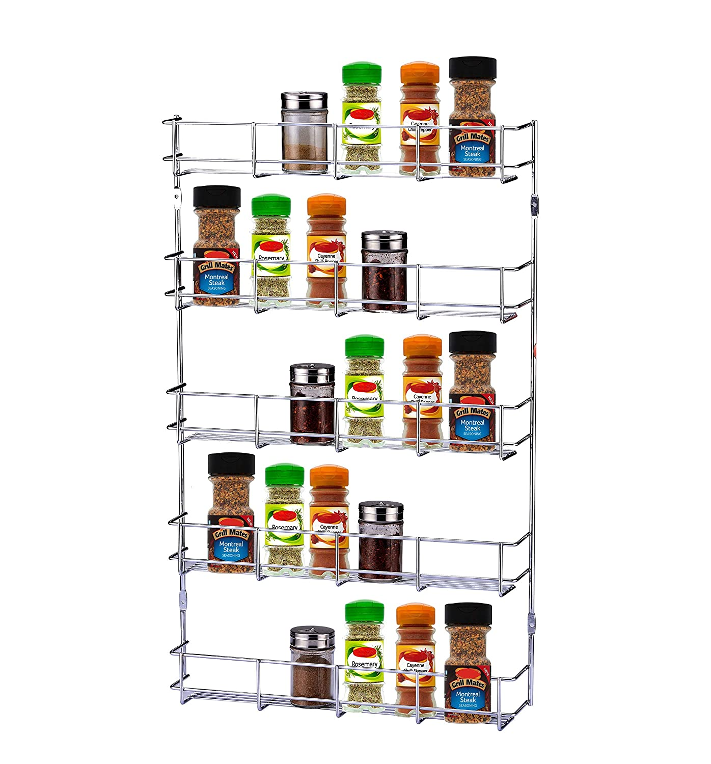 EXERZ EXSR004-4 Herb and Spice Rack 4 Tiers – Kitchen Shelf Organiser for Jars, Perfect Space Saving and Storage. Can be Wall mountable or Cupboard Door Fitting (Fixings Included in The Package). Exerz Ltd