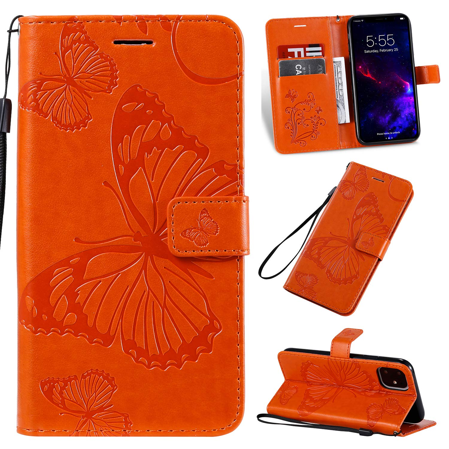 Tznzxm iPhone 11 6.1 inch Case,3D Embossed Butterfly PU Leather Magnetic Wallet Protective Flip Kickstand Cover with Credit Card Slots and Wrist Wallet for iPhone 6.1 inch 2019 Orange by Tznzxm