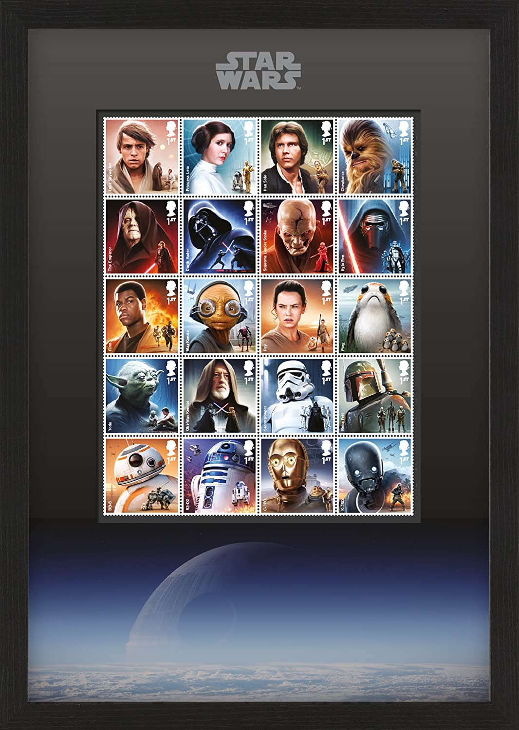 Star Wars N3111 2015 and 2017 Framed Character Stamps Royal Mail