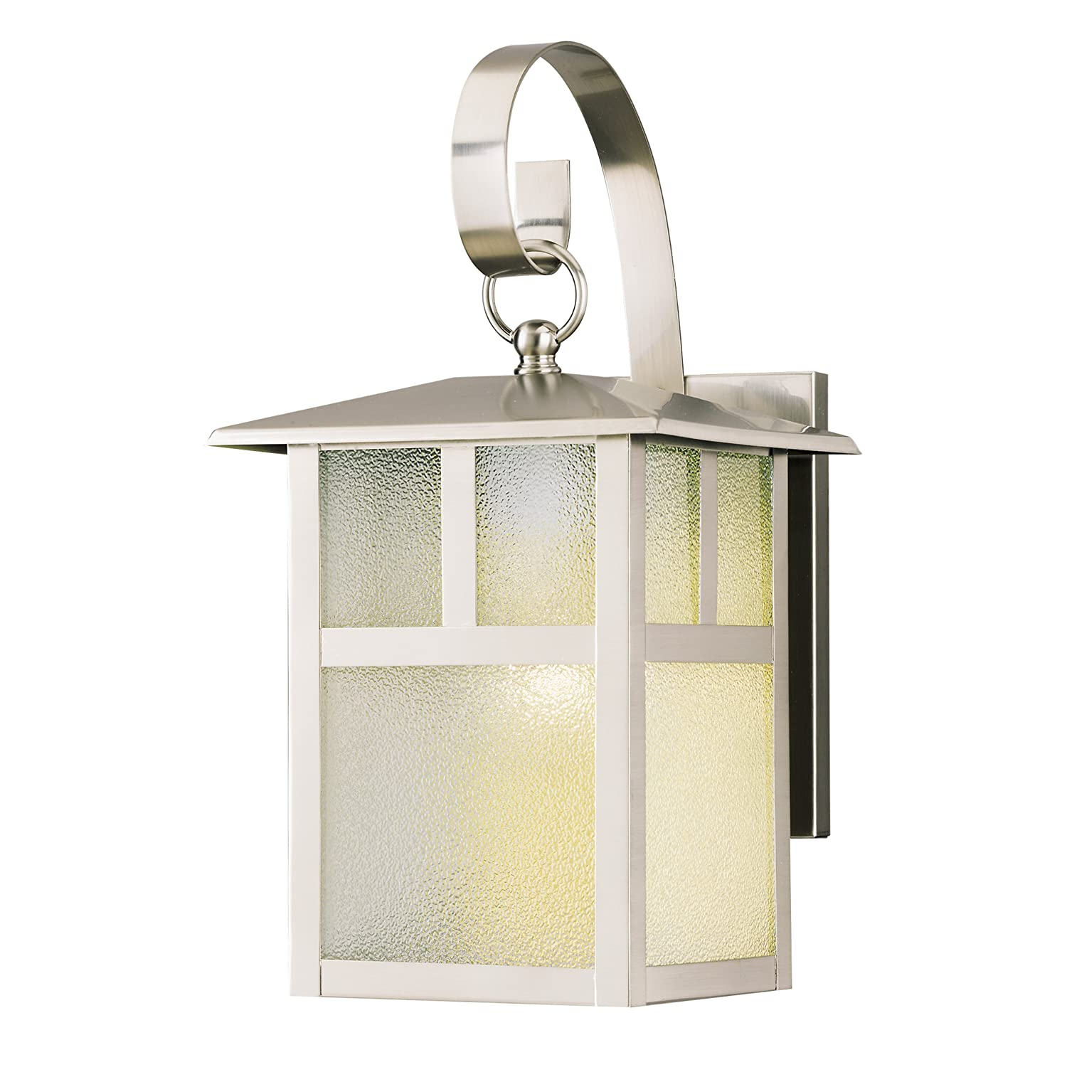 Com Westinghouse 6991900 One Light Exterior Wall Lantern Brushed Nickel Finish On Steel With Clear Textured Glass Panels Home Improvement