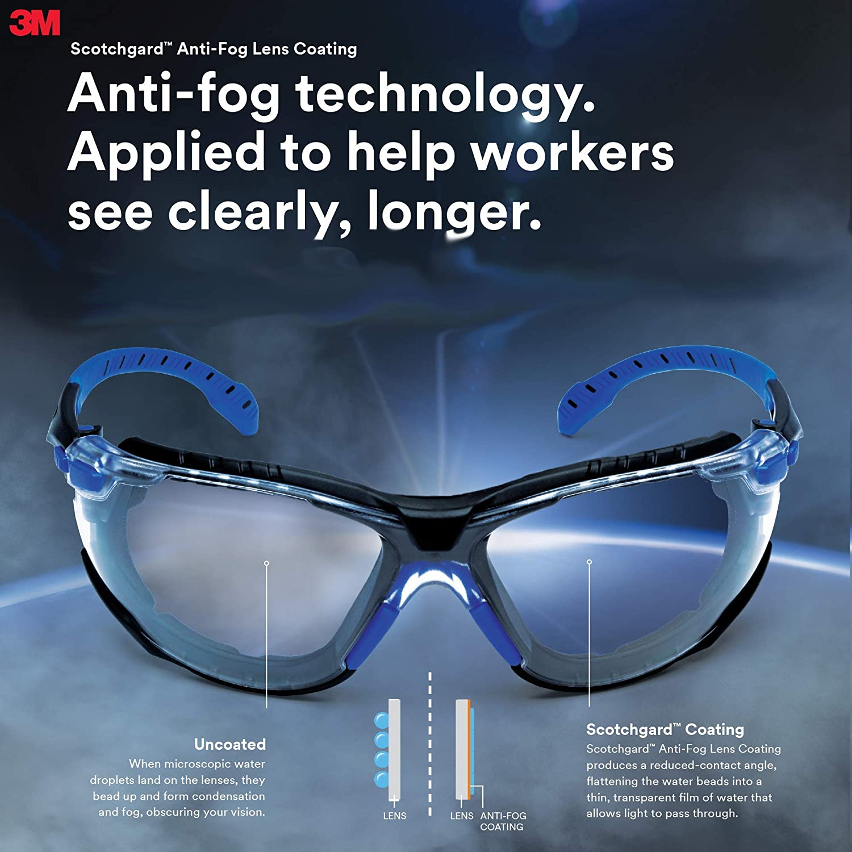 S1103SGAF Pack of 20 Black//Blue 3M/™ Solus Protective Eyewear with Amber Scotchgard/™ Anti-Fog Lens