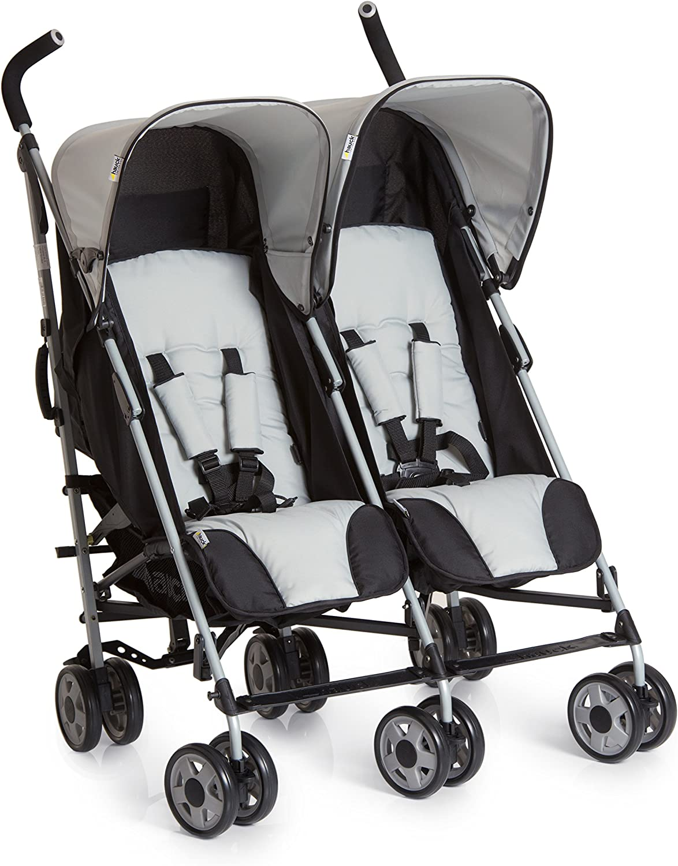 Noir Gris Position Couch/ée pour Deux Enfants de 0 Mois Pliable Compacte avec Grand Panier Hauck Turbo Duo Poussette Double jusqu/à 36 kg
