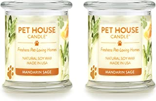 product image for One Fur All 100% Natural Soy Wax Candle, 20 Fragrances - Pet Odor Eliminator, Up to 60 Hours Burn Time, Non-Toxic, Eco-Friendly (Pack of 2, Mandarin Sage)
