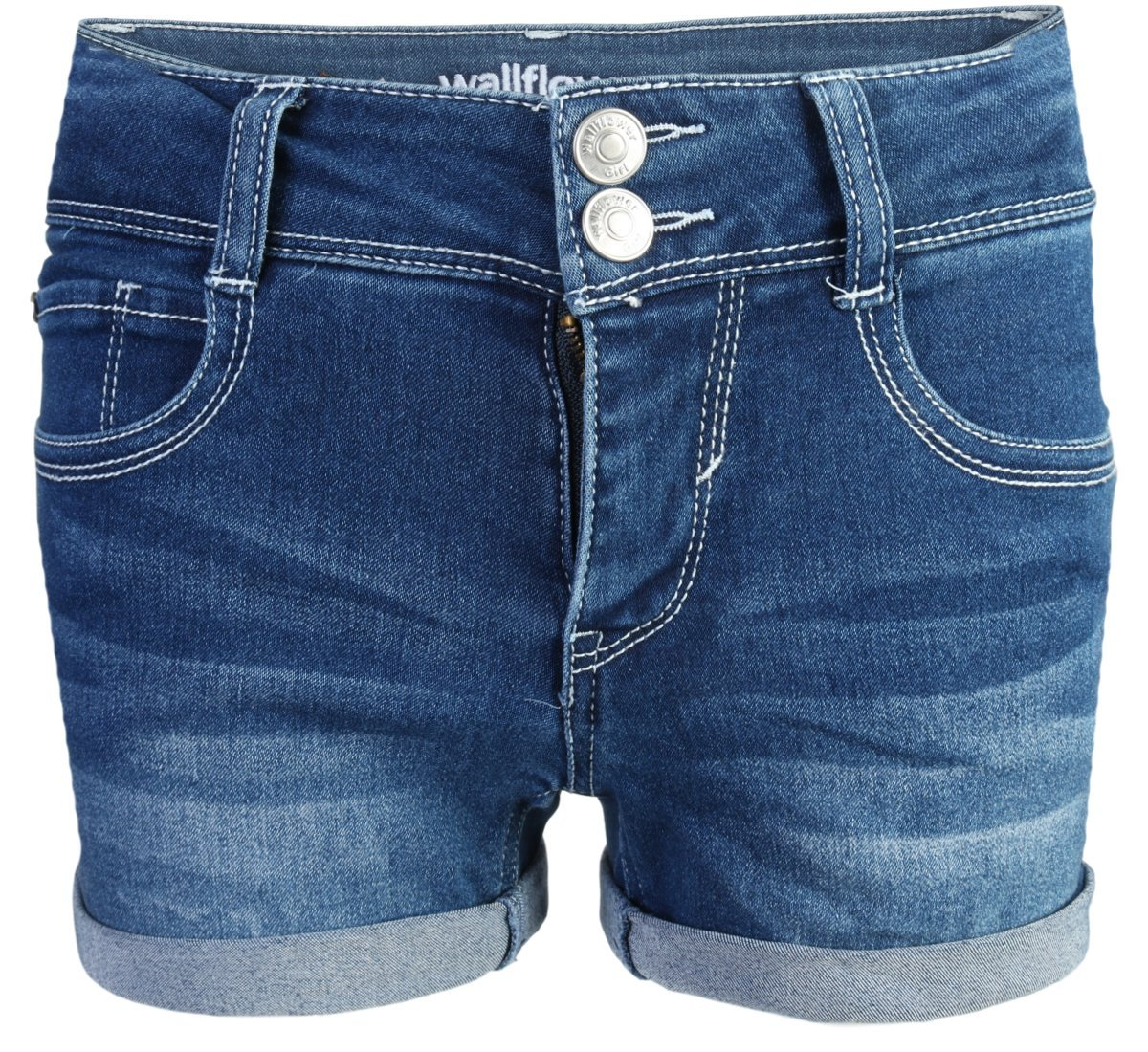 WallFlower Girls Soft Strech Denim Shorts, Dark Wash w/Stud Pocket, Size 10 by WallFlower Jeans