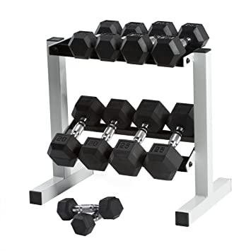 9960f0ae5e7 Image Unavailable. Image not available for. Color  Cap Barbell Rubber Hex  Dumbbell Set