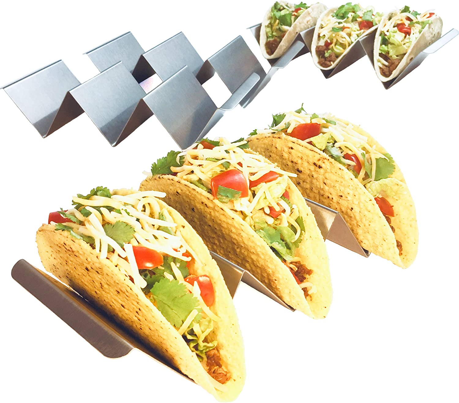 Stainless Steel Taco Trays with 4Salad Cups /& 4 Spoons,Holds 3 Tacos Each Keeping Shells Upright /& Neat Taco Holder Stand Set of 4
