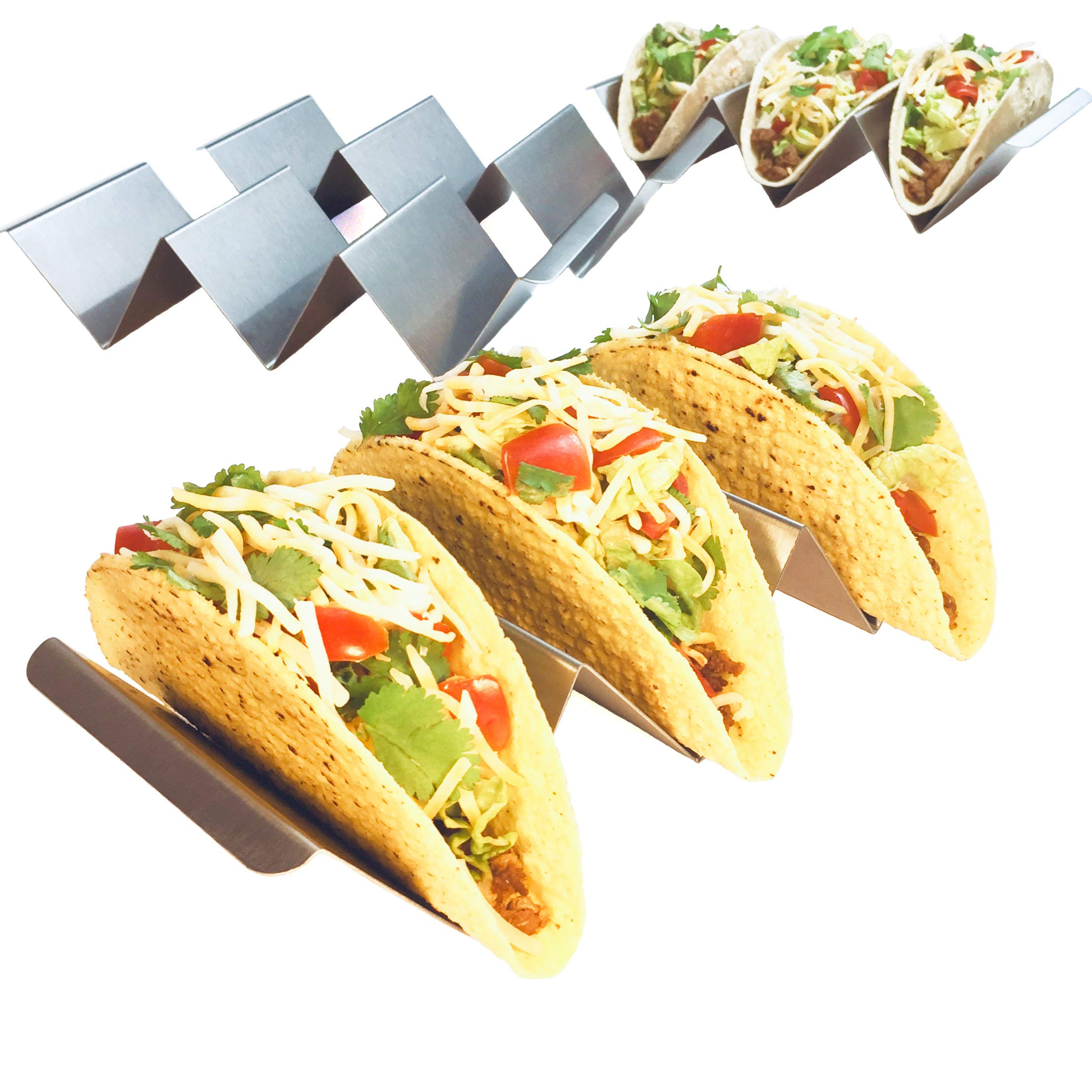 4 Pack - Jumbo Stainless Steel Taco Holder Stand with Handles | Enhanced Durability Restaurant Grade Stainless Steel for FULLER Sized Tacos | Metal Taco Rack Oven, Grill and Dishwasher Safe Serveware