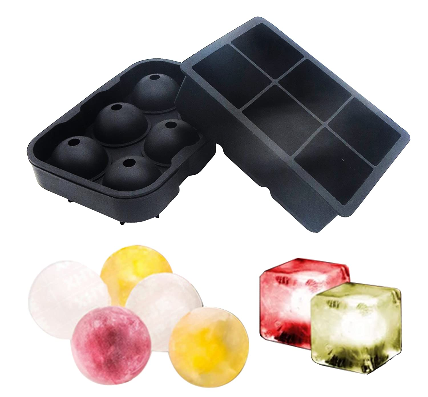 Tosnail Ice Ball Maker Mold and Large Ice Cube Mold - Black Flexible Silicone Ice Tray - Molds 6 x 4.8cm Square Ice Cube Mold & 6 x 4.5cm Round Ice Ball Spheres, Set of 2 by Tosnail T-IceBallCubeMold-SetOf2