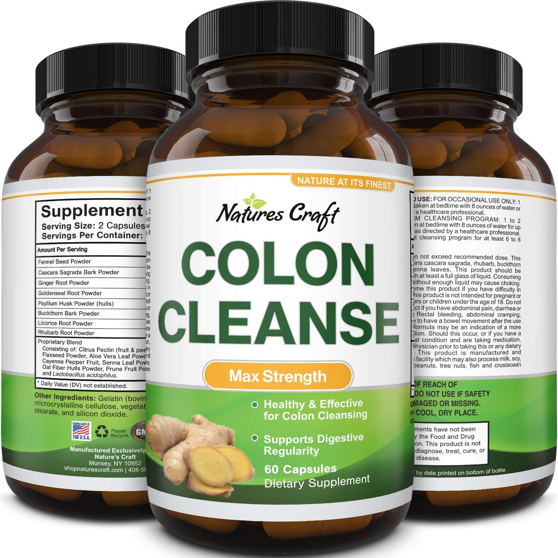 Colon Cleanser & Detox - Lactobacillus Acidophilus Probiotic Supplement Body Cleanse - Psyllium Husk Capsules Gut Health Supplement
