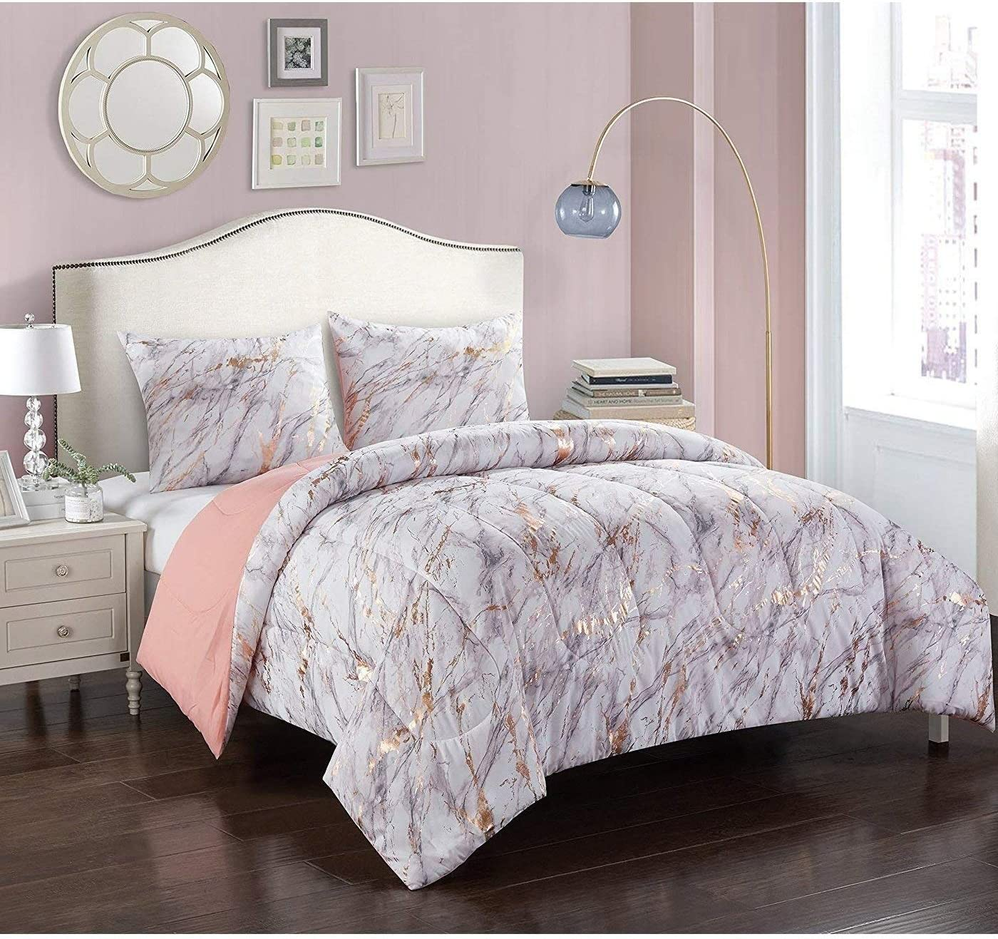 2 Piece Pink Gold Girls Marble Comforter Twin Set Girl Marbble Theme Bedding Gold Metalic Crackle Pattern Streaks Swirls Foil, Polyester