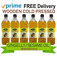 Thanjai Natural Cholesterol-free No Preservatives Organic Unrefined Wooden Cold Pressed Gingelly Sesame Oil for Cooking (6000 ml) with Himalayan Rock Salt -250 g
