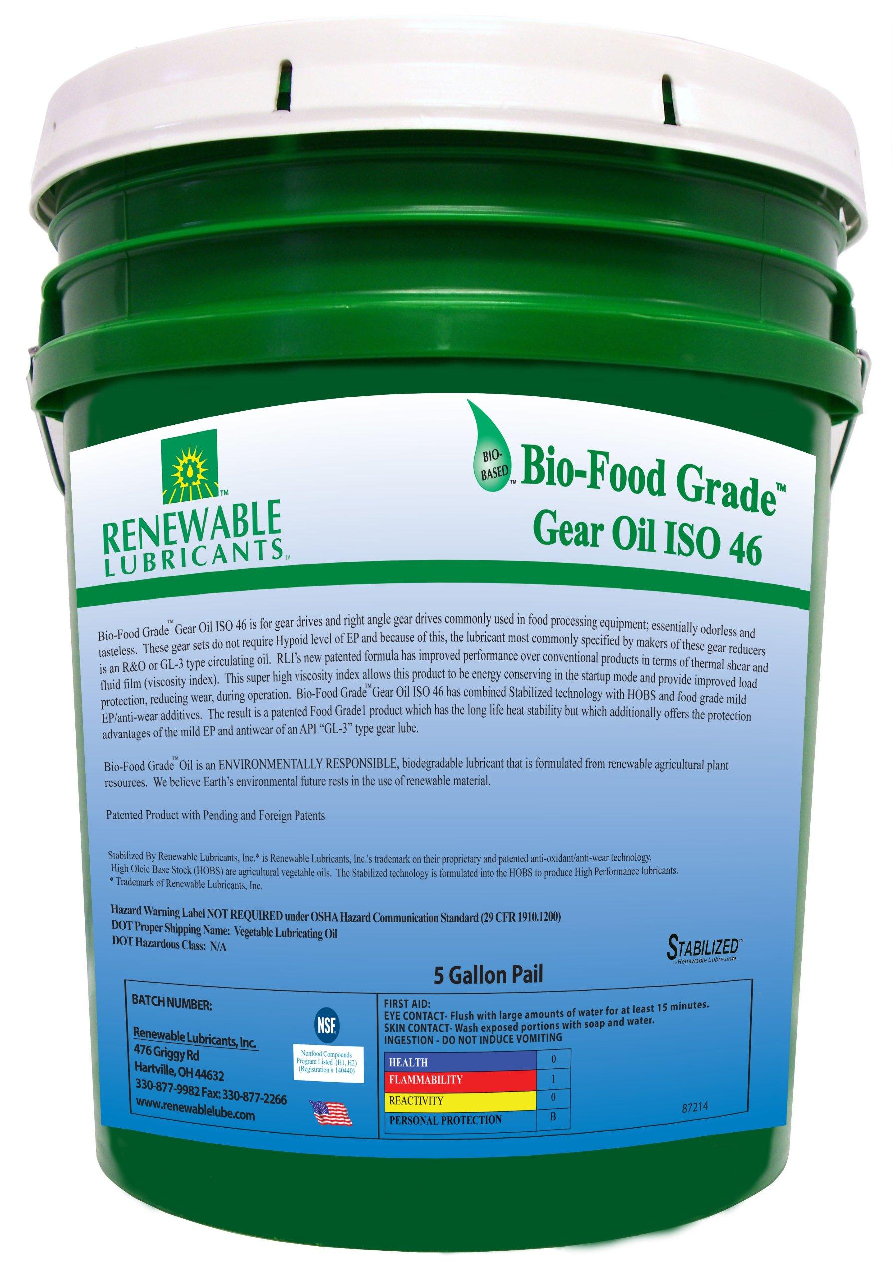 Renewable Lubricants Bio-Food Grade ISO 46 Gear Oil, 5 Gallon Pail by Renewable Lubricants