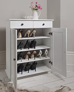 Shoe Storage Cabinet Deluxe with Storage Drawer Heathfield in White & Sydney Large Shoe Cupboard Shoe Rack Storage Cupboard Shoe ...