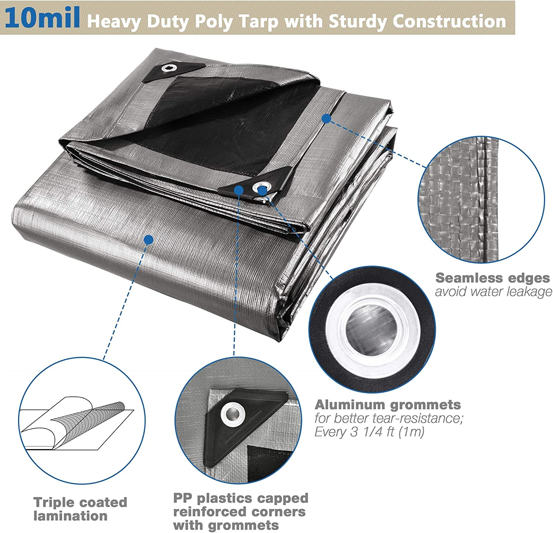 18x24ft Heavy Duty Reinforced Poly Tarp Canopy Tent Cover Waterproof Tarpaulin