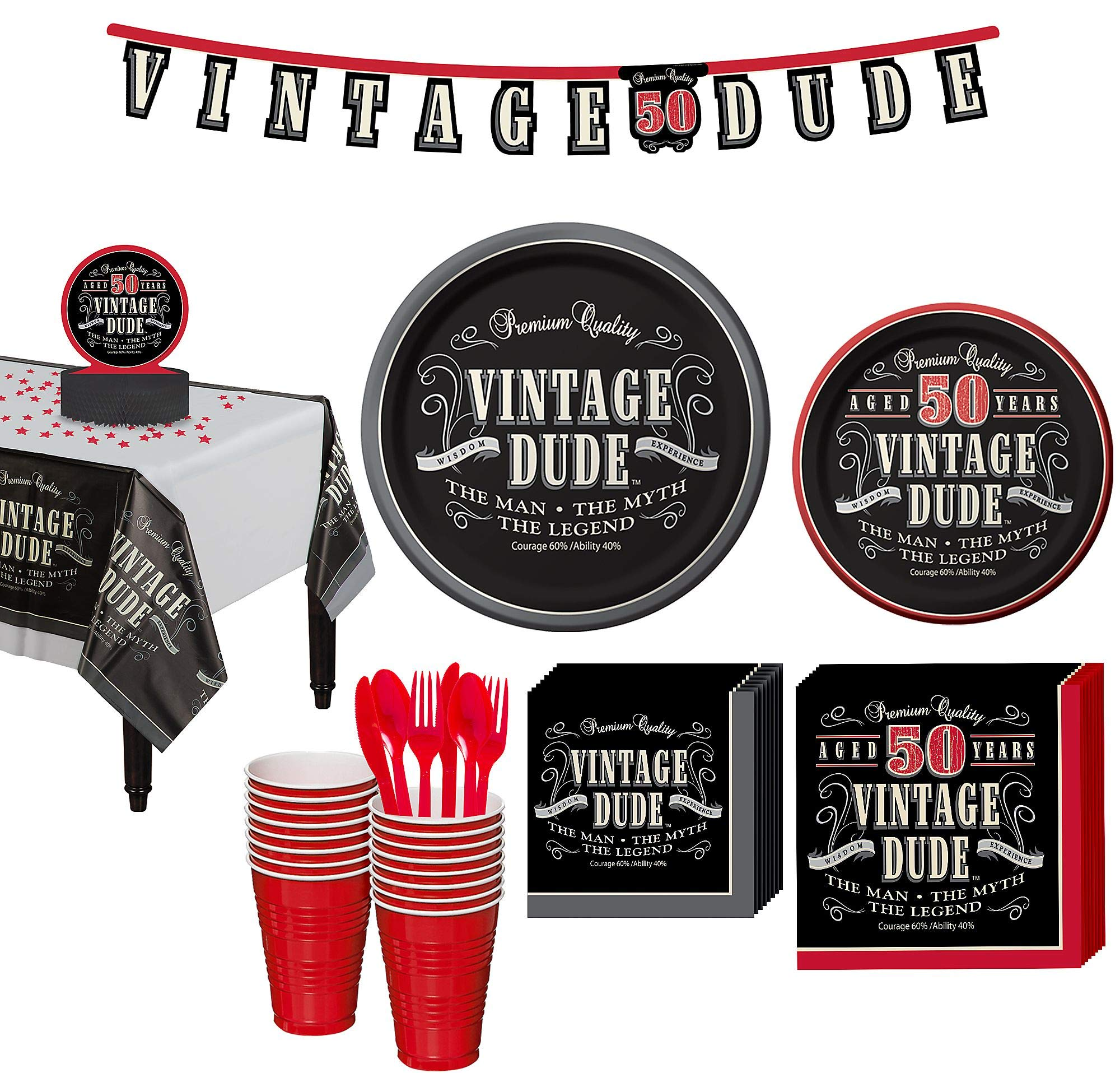 Party City Vintage Dude 50th Birthday Party Kit for 16 Guests, 167 Pieces, Includes Plates, Napkins, and Decorations