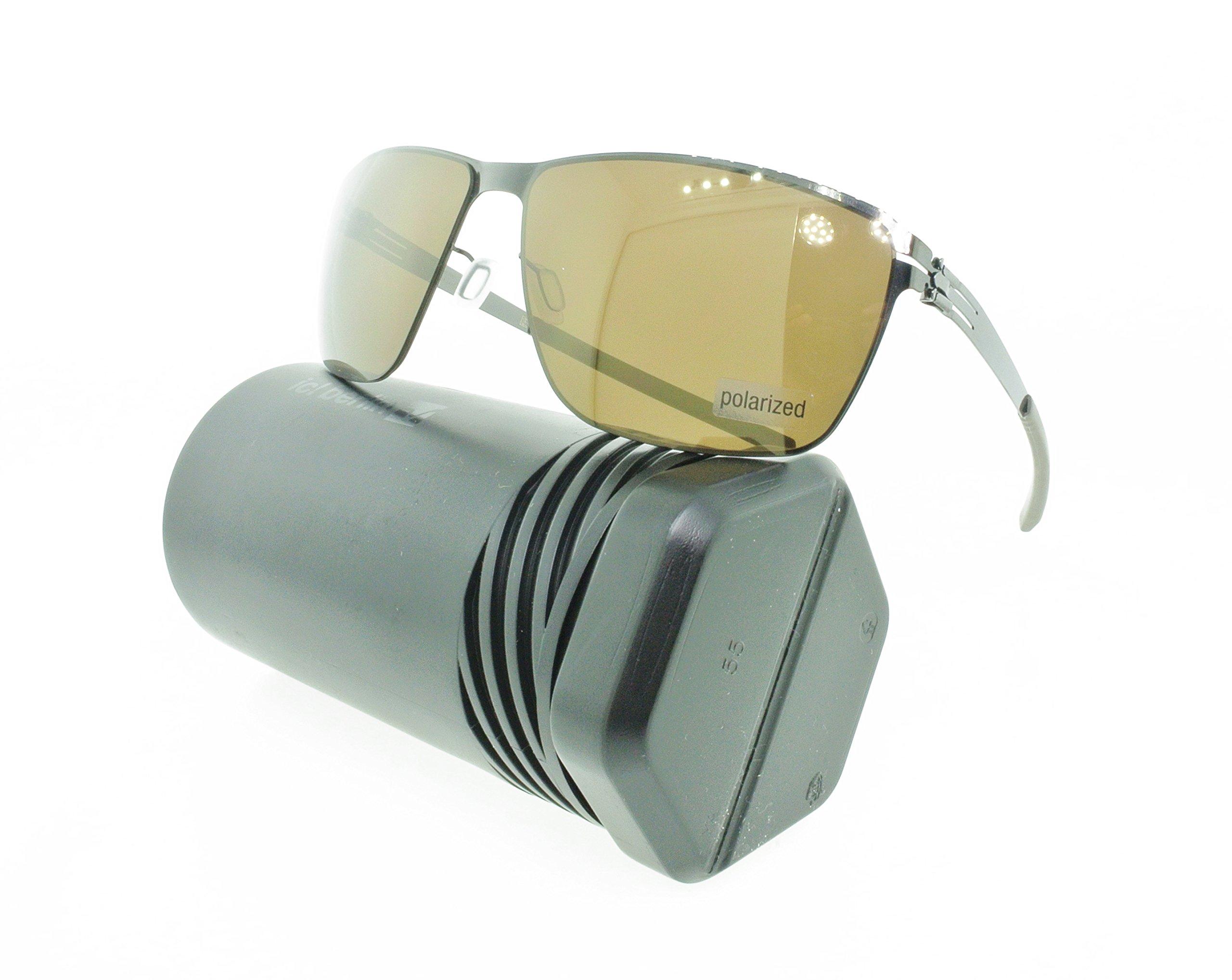 Brand New Authentic ic! berlin Sunglasses Oli Rectangular Gunmetal Polarized Brown
