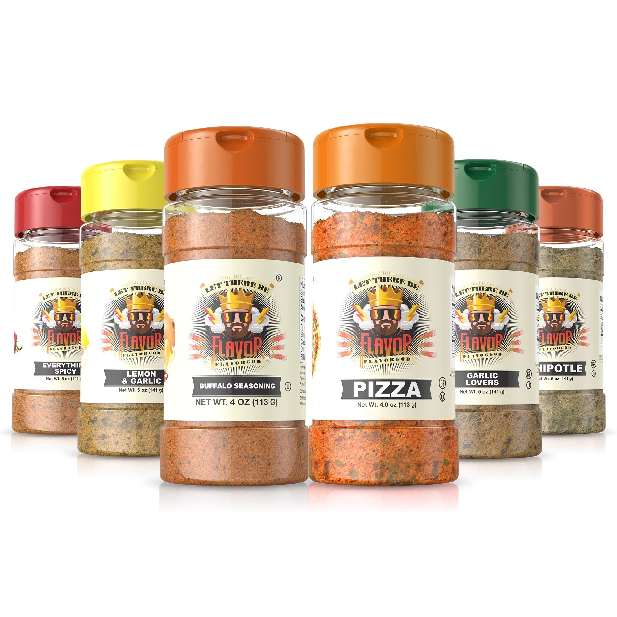 Flavor God Seasonings - Meal Prep Combo - Everything Spicy, Garlic Lovers, Lemon Garlic, Pizza, Buffalo, and Chipotle (Gluten Free, GMO Free, MSG Free, Low Sodium, Paleo Friendly) by Flavor God (Image #1)
