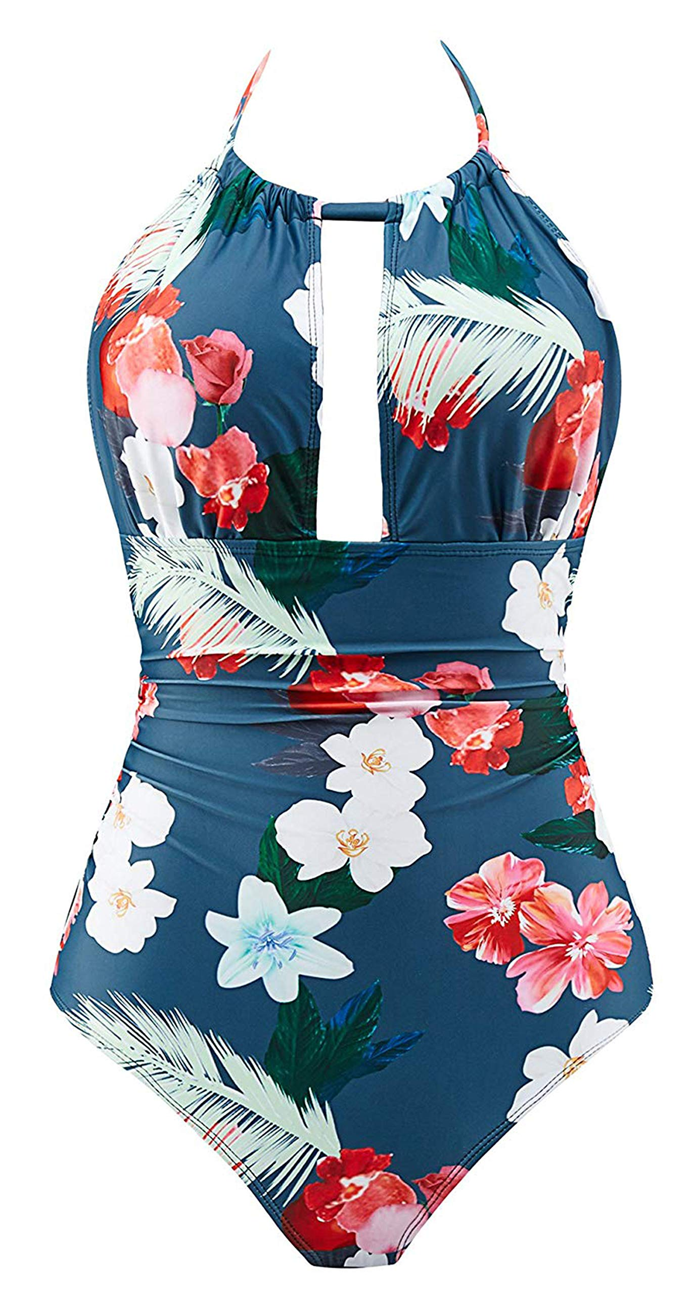 B2prity Women's One Piece Swimsuits Tummy Control Swimwear Slimming Monokini Bathing Suits for Women Backless V Neck