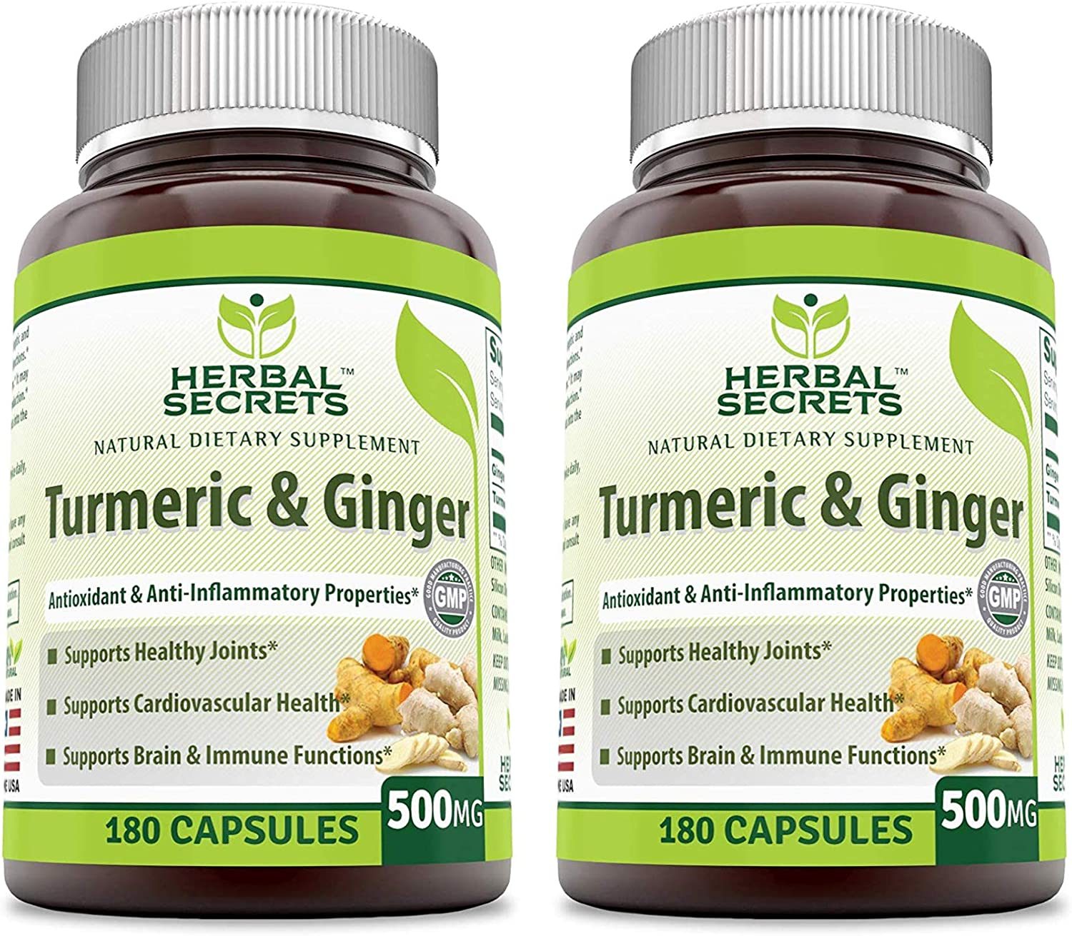 Herbal Secrets Turmeric Ginger 500 Mg Pack of 2-360 Capsules Total