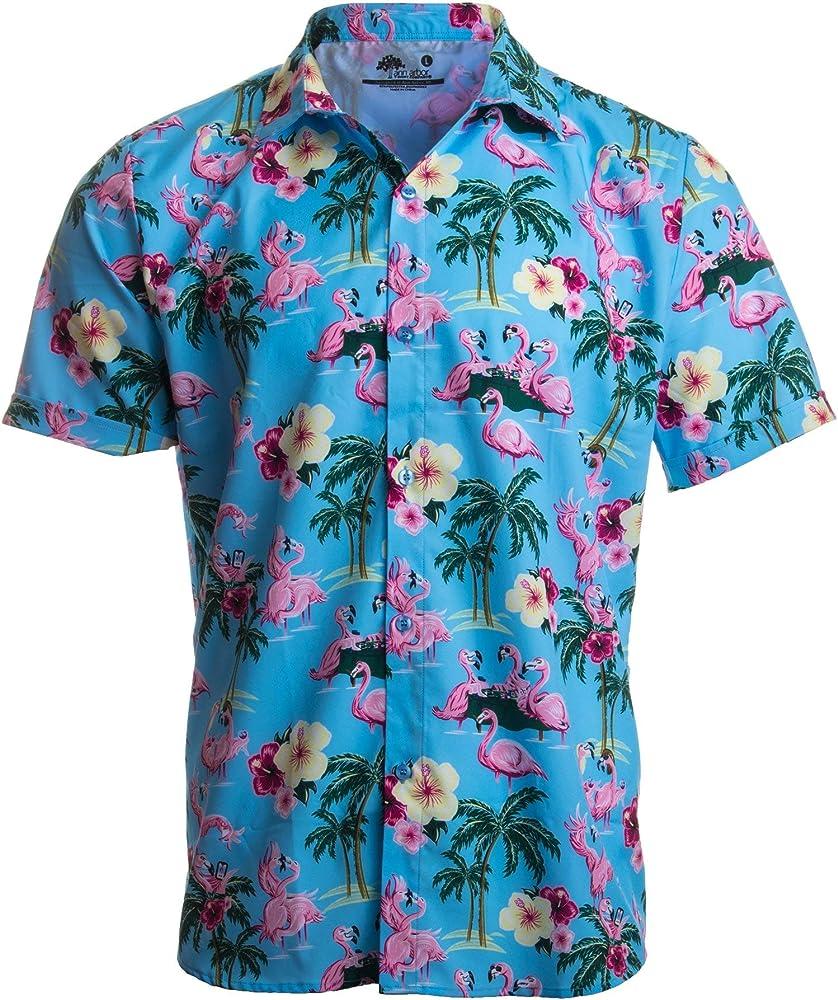 Ann Arbor T-shirt Co. Traviesa del flamenco de los hombres - con botones Polo X-Large Blue Island: Amazon.es: Ropa y accesorios