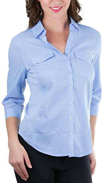 875bc72e ToBeInStyle Women's Placket Elbow Roll-Up Sleeve Blouse - P.Blue - Small