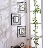Hosley Decorative Square Iron Wall Mirror (15.24 cm x 29.84 cm, Black, Set of 3)