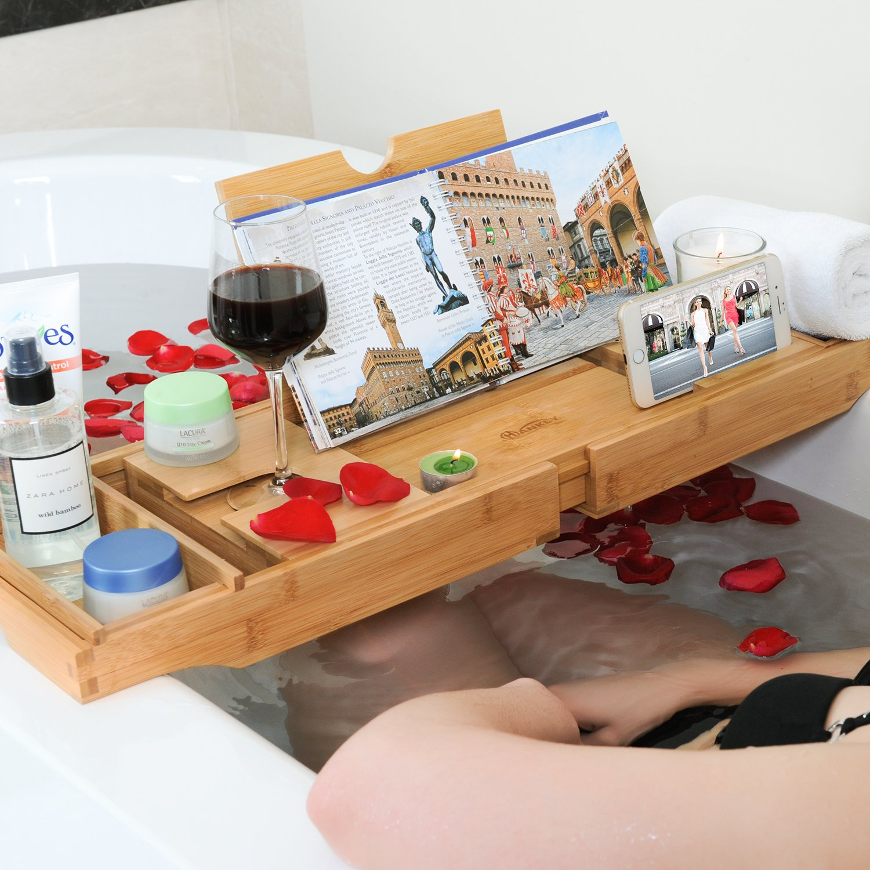 Bandeja de bambú extensible, de lujo, organizador de spa plegable, de madera natural y ecológica, soporte para bañeras para tabletas, smartphone, vinos, ...