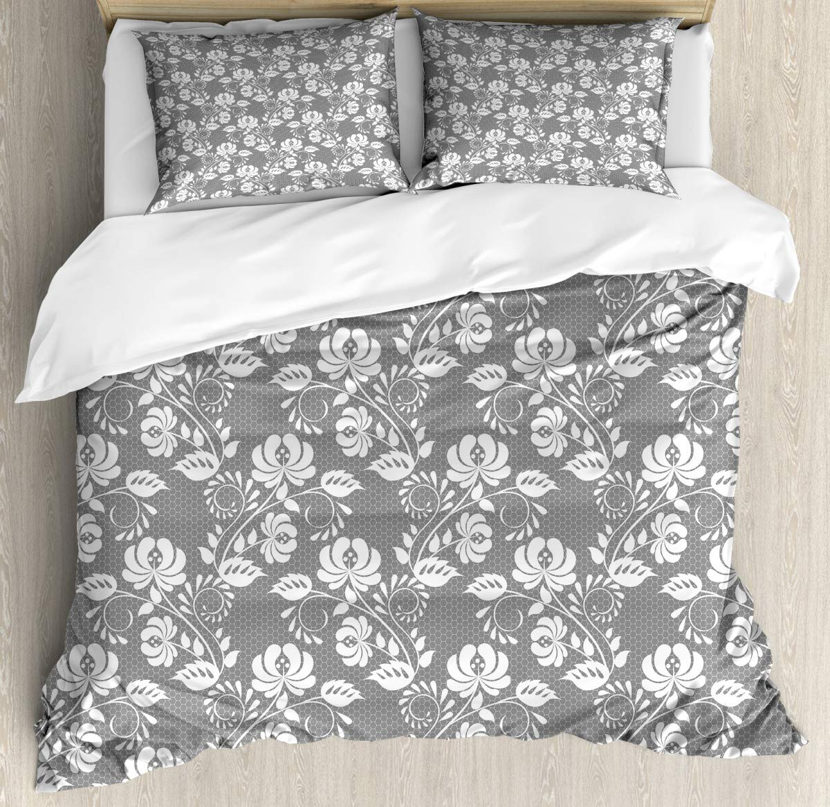 """Duvet Cover SetLeaves Swirls and Dots Duvet Cover SetDecorative 3 Piece Bedding Set with 2 Pillow Shams86 x102/19""""x29""""inch"""