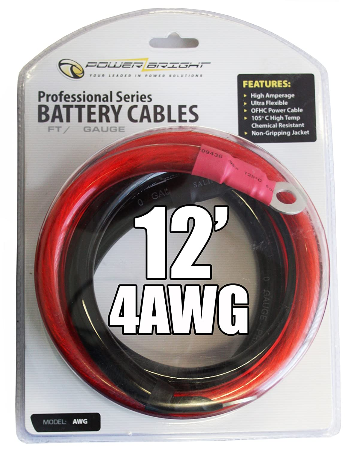 Amazon.com: Power Bright 4-AWG12 4 AWG Gauge 12-Foot Professional ...