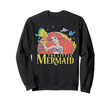 a954f1916 Unisex Disney Little Mermaid Ariel Flounder Logo Graphic Sweatshirt 2XL  Black