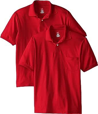 Hanes Men's Short Sleeve Jersey Pocket Polo (Pack of 2)