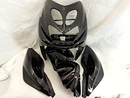 kit los cascos silenciador de moto nitro YAMAHA aerox barnizadas mettallizato 7 piezas, color negro