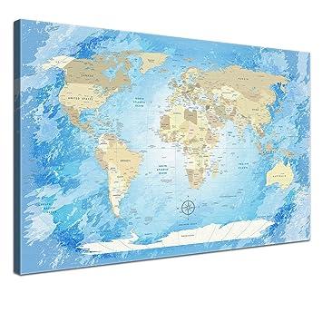 Lana Kk Leinwandbild World Map Frozen Weltkarte Englisch