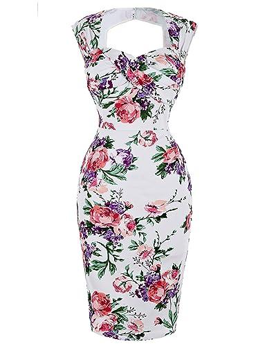 Belle Poque Women's 50s Knee-Length Cap Shoulder Cocktail Pencil Dresses