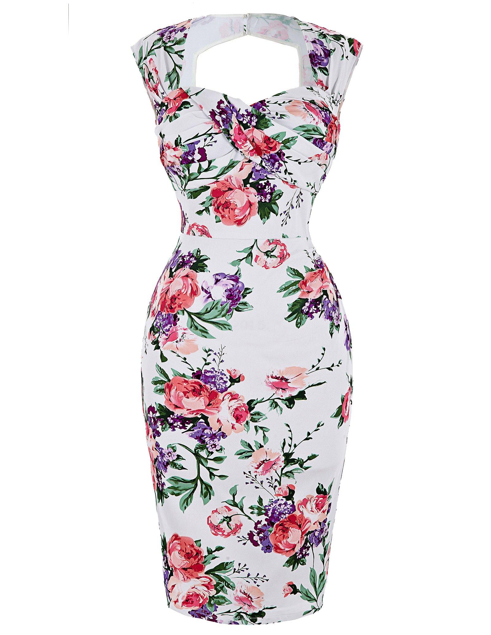 Women's Audrey Hepburn Style Floral Cocktail Tea Dress Size 14