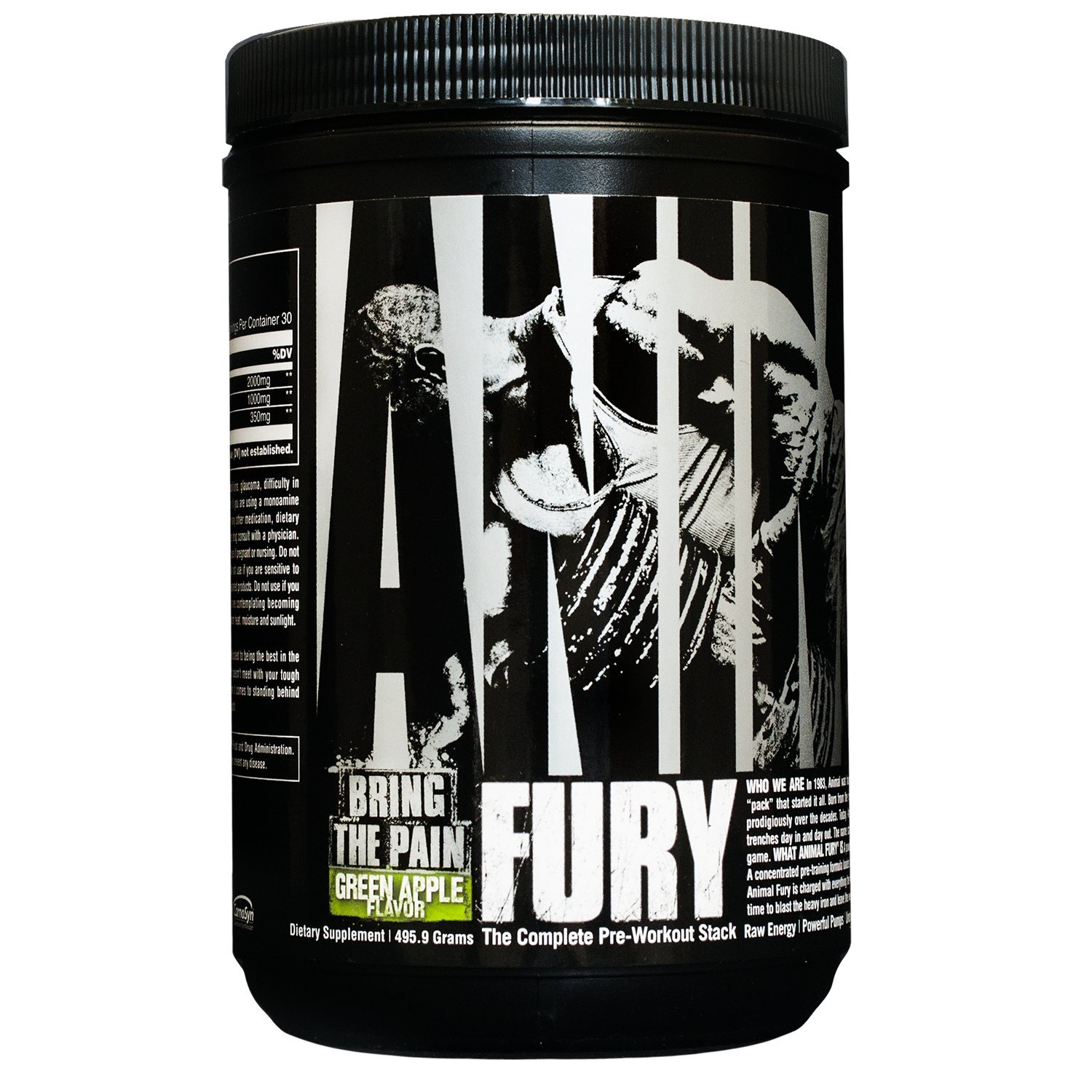 Animal Fury - Pre Workout Powder Supplement for Energy and Focus - 5g BCAA, 350mg Caffeine, Nitric Oxide, Without Creatine - Powerful Stimulant for Bodybuilders - Green Apple - 30 Servings by Animal