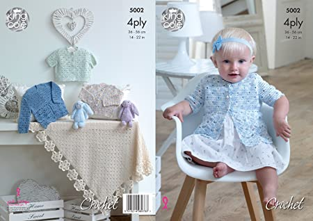 be2e5cd29 King Cole 5002 Crochet Pattern Baby Matinee Jackets