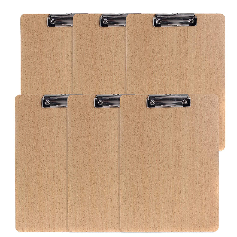 extra spessa 4 mm Set da 6 Pezzi TKD8009 TUKA A4 Portablocco di legno con clip in metallo gommato pannello di legno Porta-pad Lavagna da scrittura Ideale per il Lavoro Quotidiano