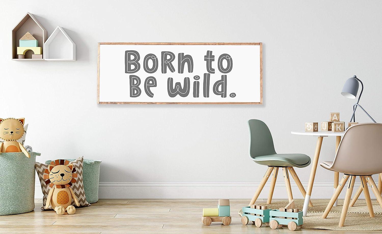 Amazon Com Promini Born To Be Wild Wood Framed Sign Boys Room Decor Kids Room Decor Children S Room Decor Nursery Nursery Room Decor Sign Above Crib Farmhouse Decor 12x22 Inch Home Kitchen