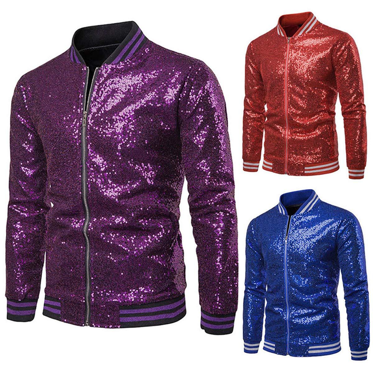 Mens Slim Fit Metallic Jacket,Long Sleeve Sparkle Sequin Shiny Zip Up Nightclub Varsity Bomber Party Jacket