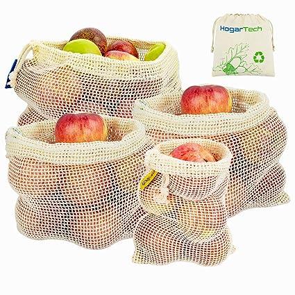 Bolsas Reutilizables de Frutas y Verduras, Bolsas de Suministros de Algodón Juego de 4 Bolsas de Rejilla | Bolsa de Comida (1*S, 2*M, 1*L)