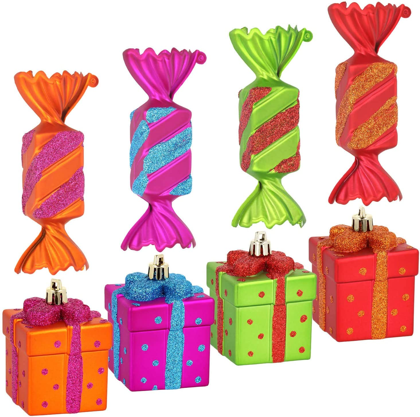 08 pieces - candy + gift Christmas tree decorations for the Christmas tree decoration com-four/® 8x Christmas tree tag set Candies and gifts in made of unbreakable plastic