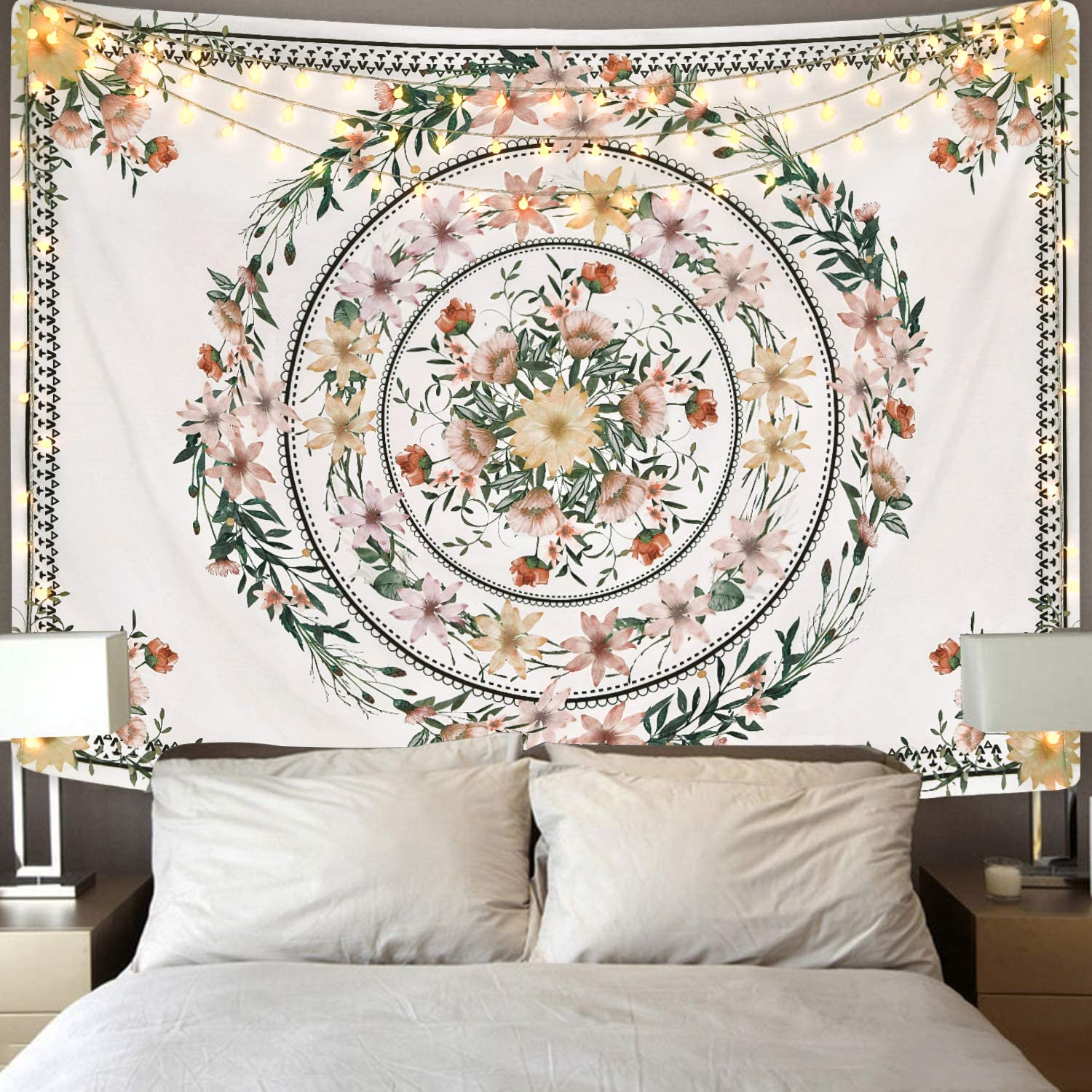 Mandala Tapestry Floral Medallion Tapestry Sketched Flower Plant Tapestry Bohemian Hippie Tapestry for Room 51.2 x 59.1 inches