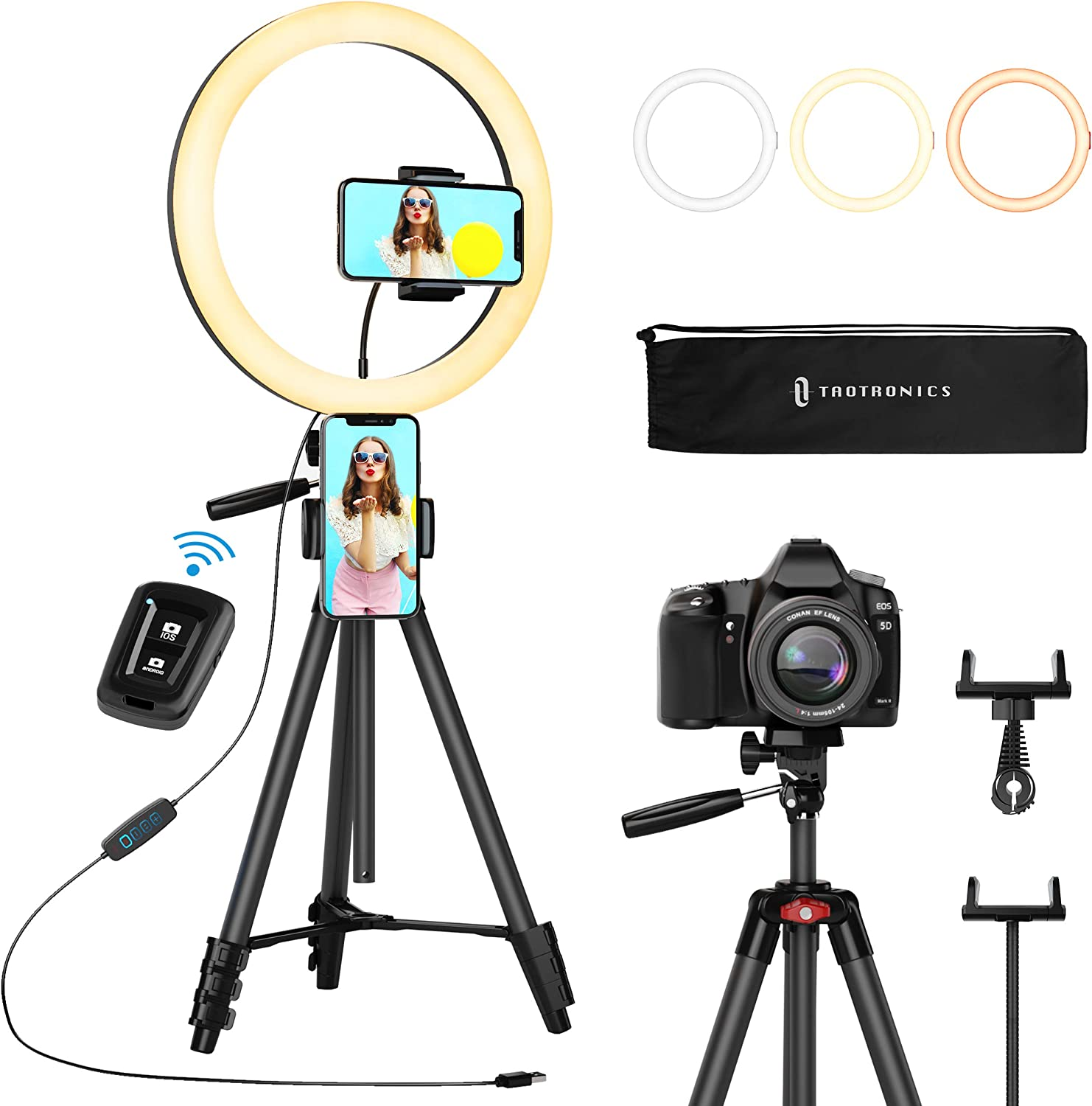 """TaoTronics 12"""" Selfie Ring Light with Tripod Stand"""