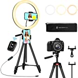 """TaoTronics 12"""" Selfie Ring Light with 3 Color Modes, 10 Adjustable Brightness, 61"""" Extendable Tripod Stand, 2 Phone…"""