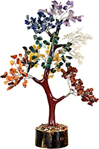 Opulence Natural Gemstone Bonsai Money Tree of Life Good Luck Wealth & Prosperity Spiritual Gift Crystal Reiki Healing Feng Shui Office Desk Decor LG-12 Inches 300 Stone Beads (7 Chakra Mseal Silver)