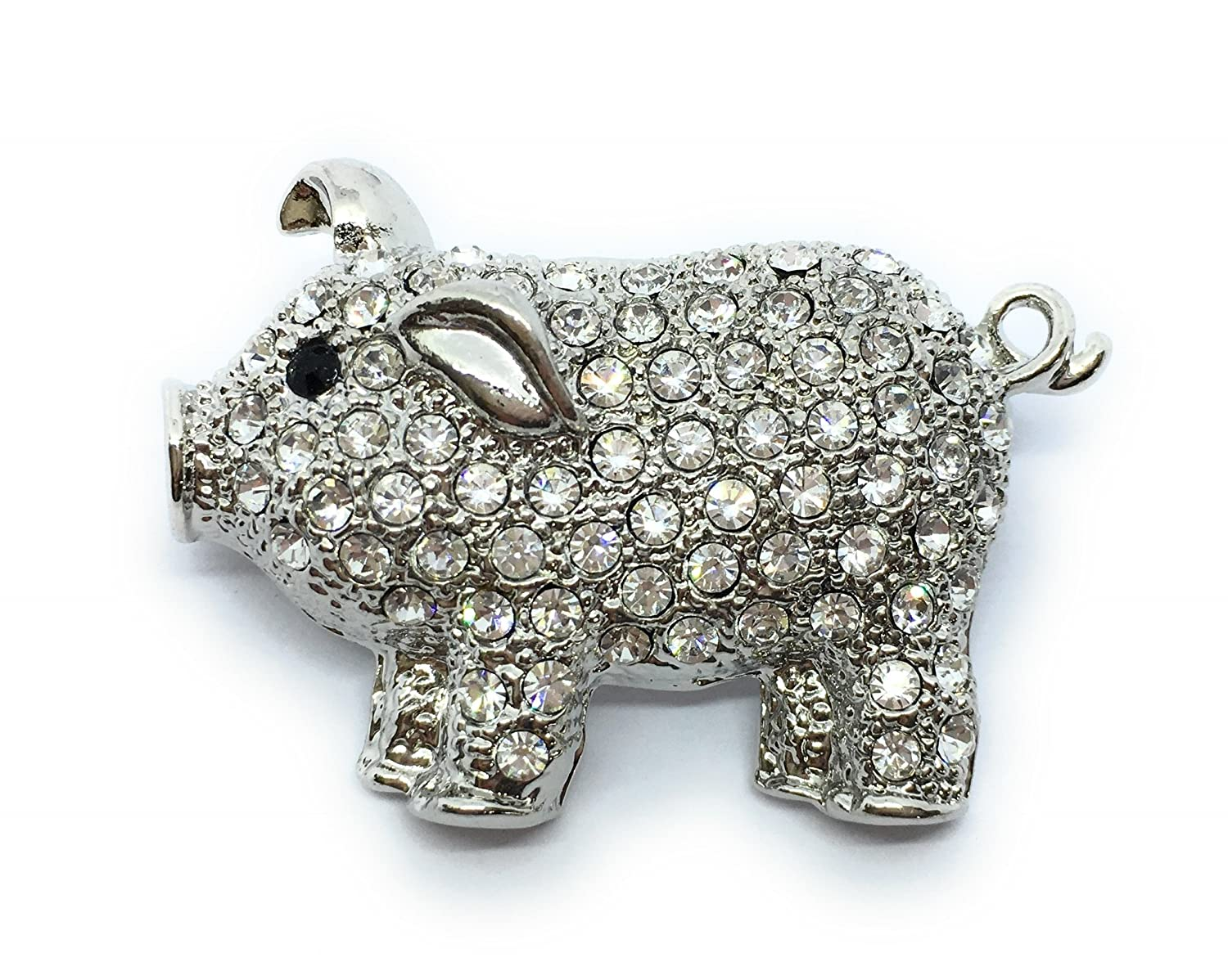 Lucky Pig Brooch, Cute Piggy Brooch - Encrusted in Crystals, 3.5cm x 2.5cm - Includes Gift Box Other BROOCHLEAVES310714