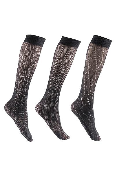 Felicity para mujer medias de rodilla de alta estampado pantalones de calcetines Calcetines de vestido - negro -: Amazon.es: Ropa y accesorios